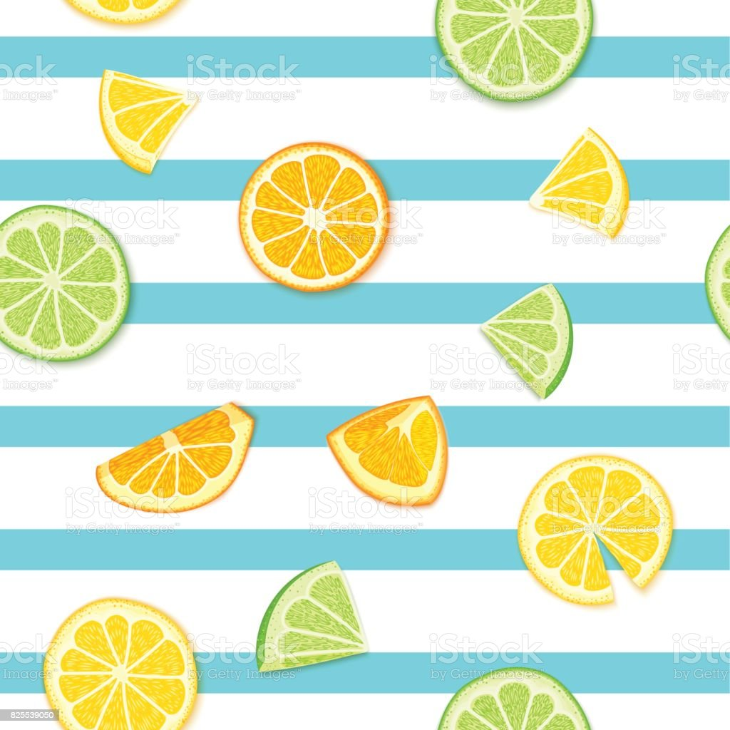 Ripe juicy tropical fruit striped seamless background. Vector card illustration. Fresh citrus lime orange lemon fruit on blue lines. Seamless pattern for packaging design healthy food juce detox diet vector art illustration