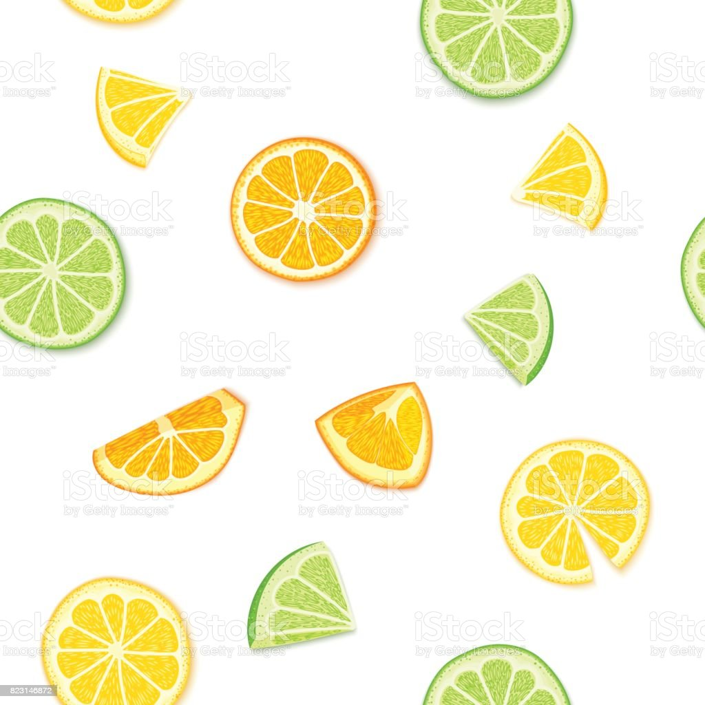 Ripe juicy tropical fruits background. Vector illustration. Fresh citrus lime orange lemon fruit peeled, piece of half, slice. Seamless pattern for packaging design healthy food diet juce, detox, tea vector art illustration