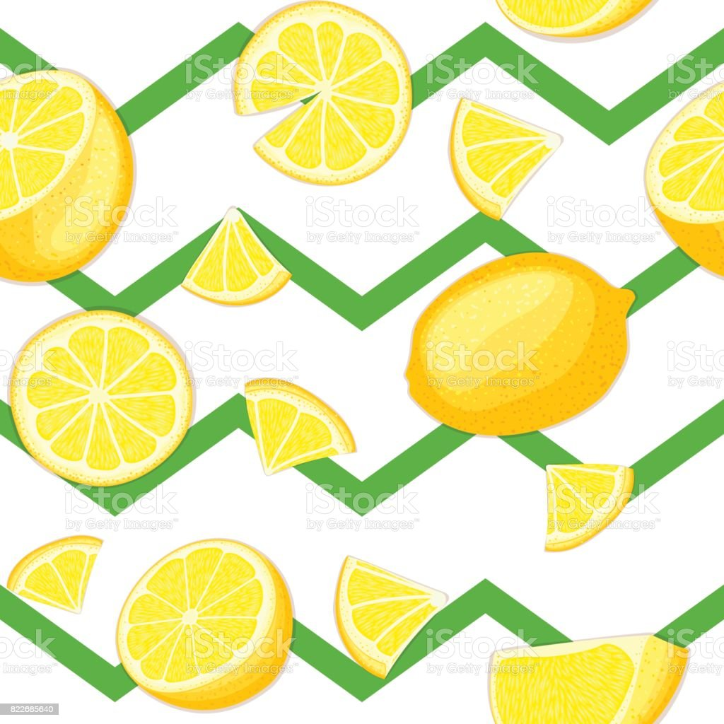Ripe juicy tropical lemon striped seamless background. vector art illustration