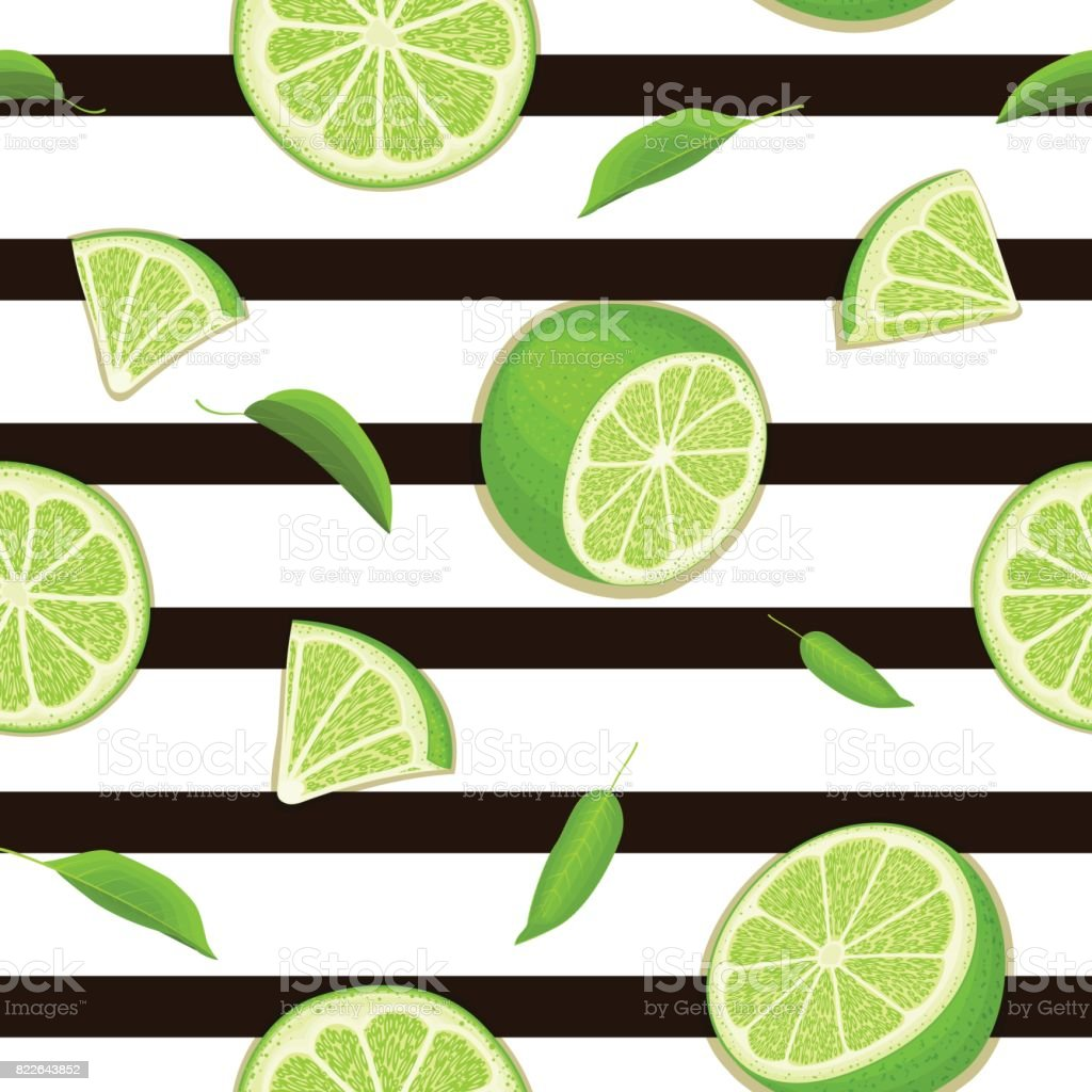 Ripe juicy tropical lime striped seamless background. Vector card illustration. vector art illustration