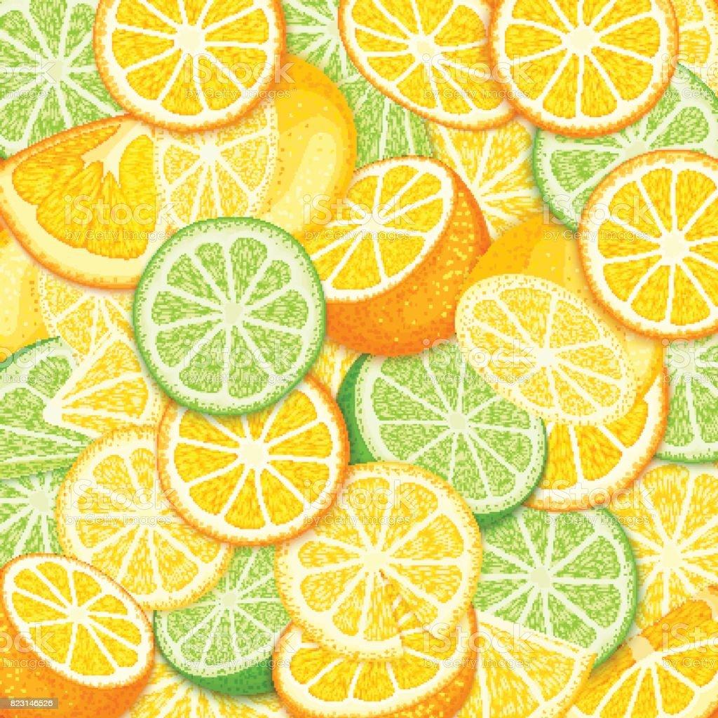 Ripe juicy tropical orange lime lemon background. Vector card illustration. Closely spaced fresh citrus orange fruit peeled, piece of half, slice. Pattern for packaging design healthy food, diet, juce vector art illustration