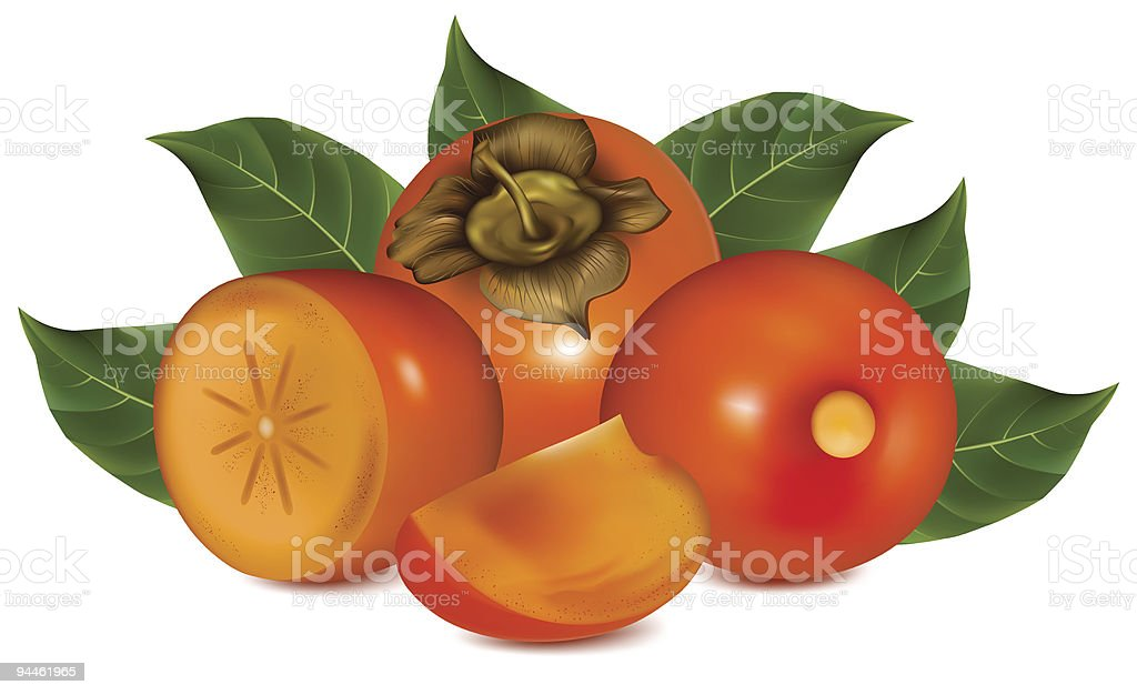 Ripe persimmons with leaves. royalty-free stock vector art
