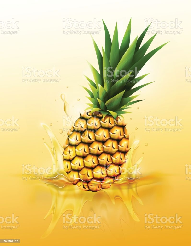 Ripe pineapple drop juice splash, ripple, Realistic Fruit, transparent, vector vector art illustration