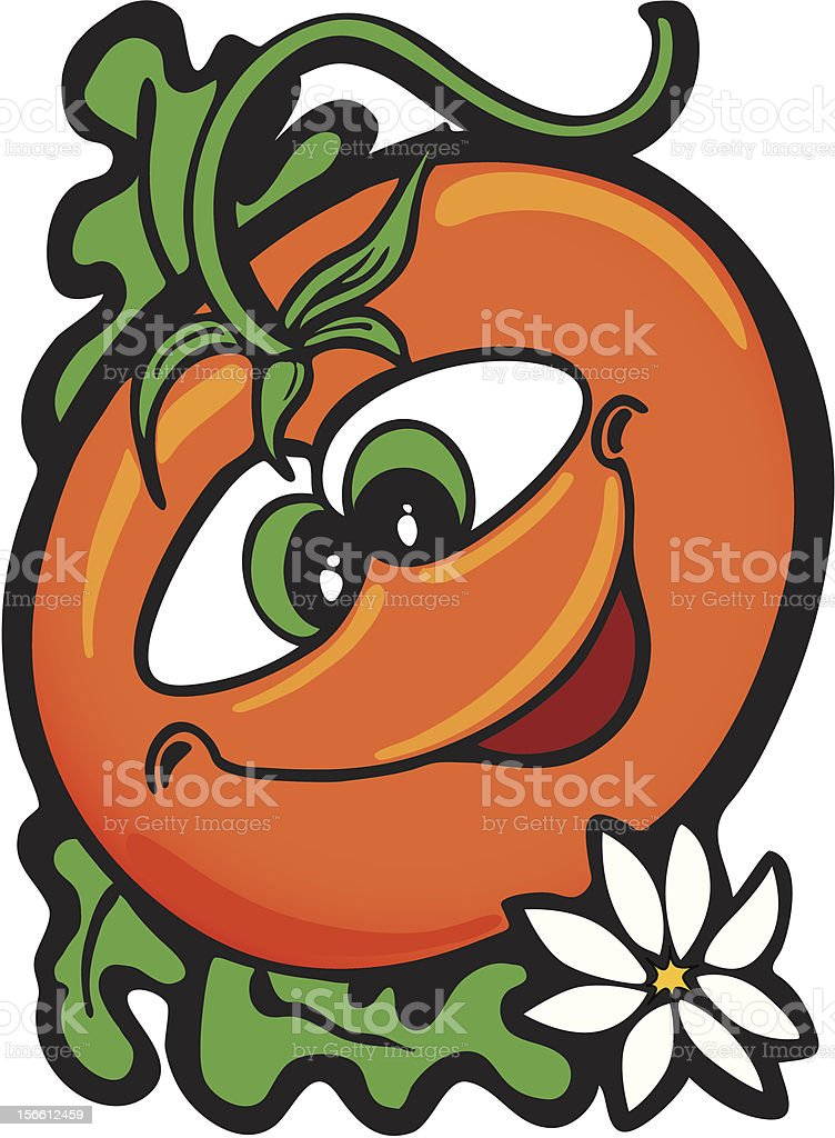 Ripe red tomato on the vine royalty-free stock vector art