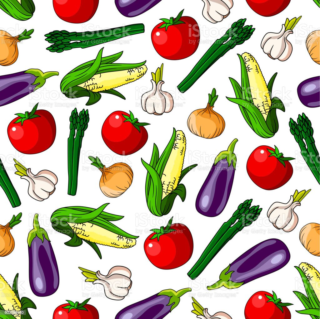Ripe vegetables seamless pattern background vector art illustration