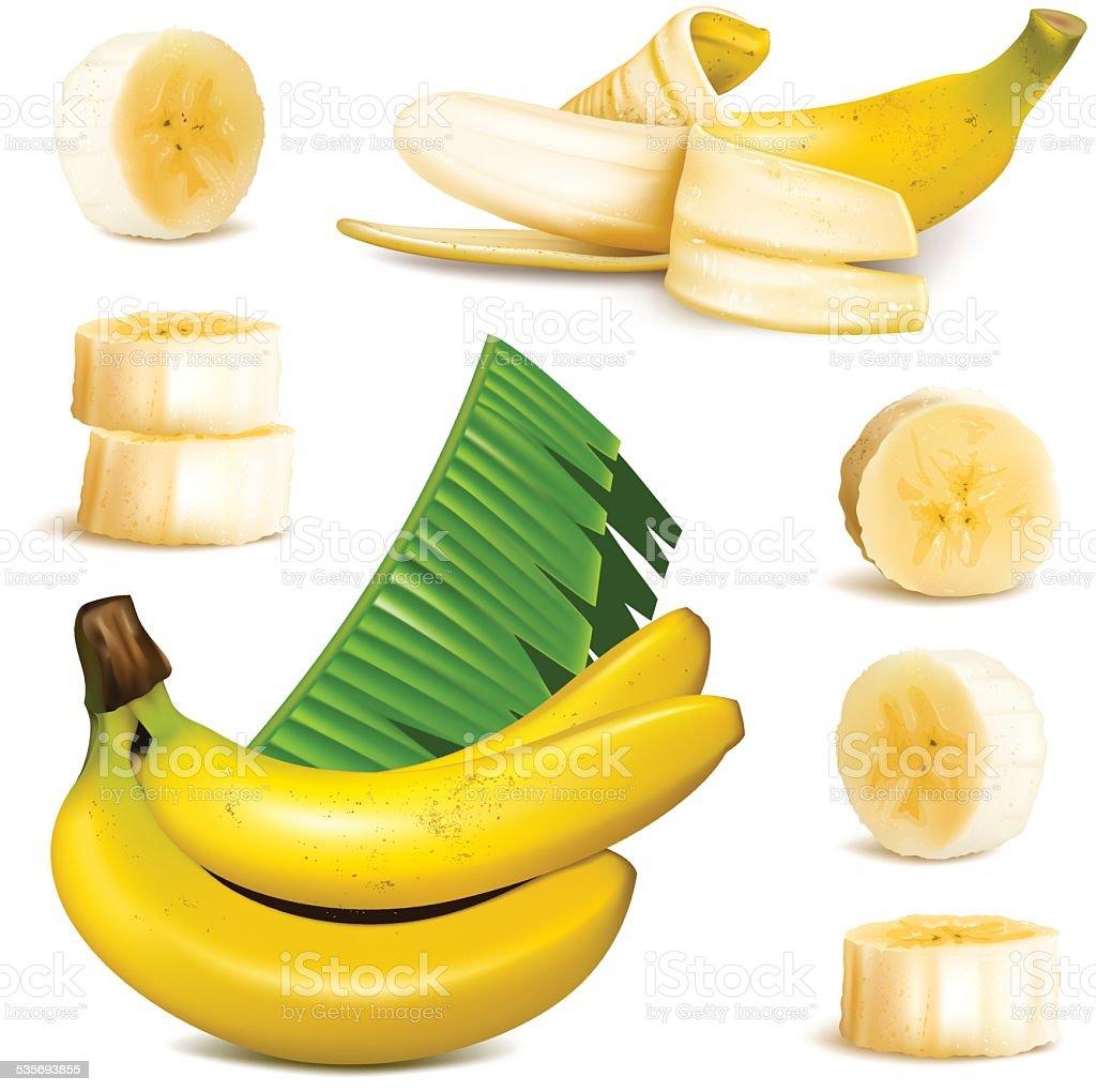 Ripe yellow banana vector art illustration