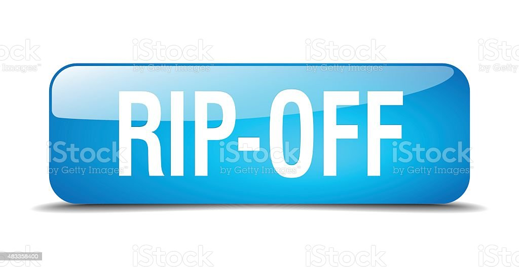 rip-off blue square 3d realistic isolated web button vector art illustration
