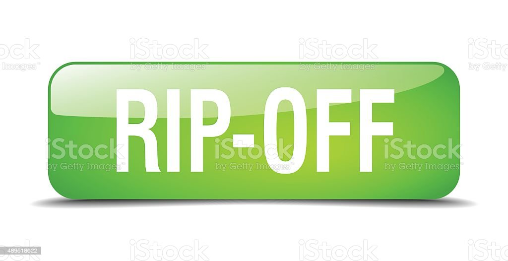 rip-off green square 3d realistic isolated web button vector art illustration