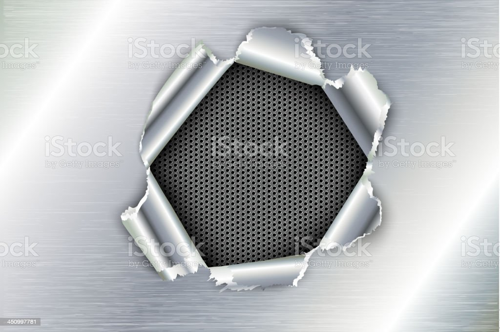 ripped a hole in metal vector art illustration