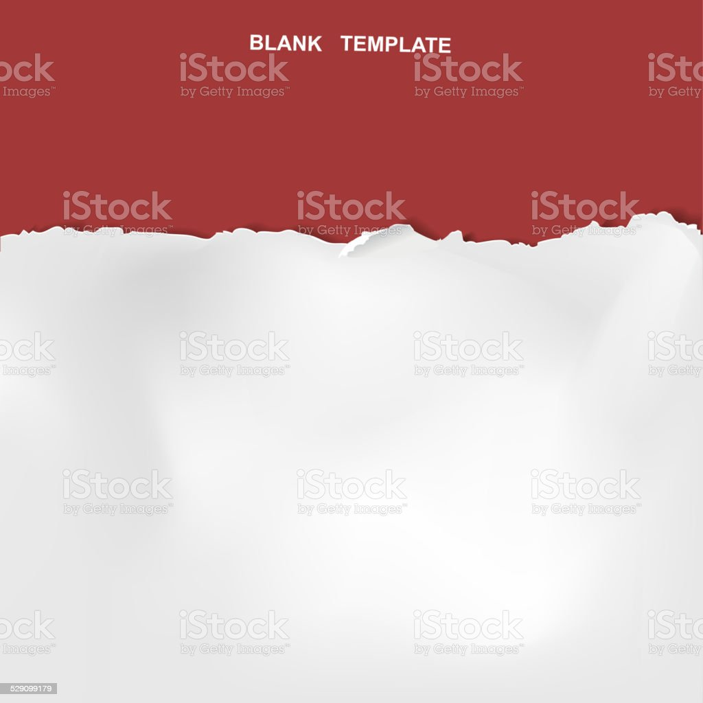 ripped paper template isolated on red vector art illustration