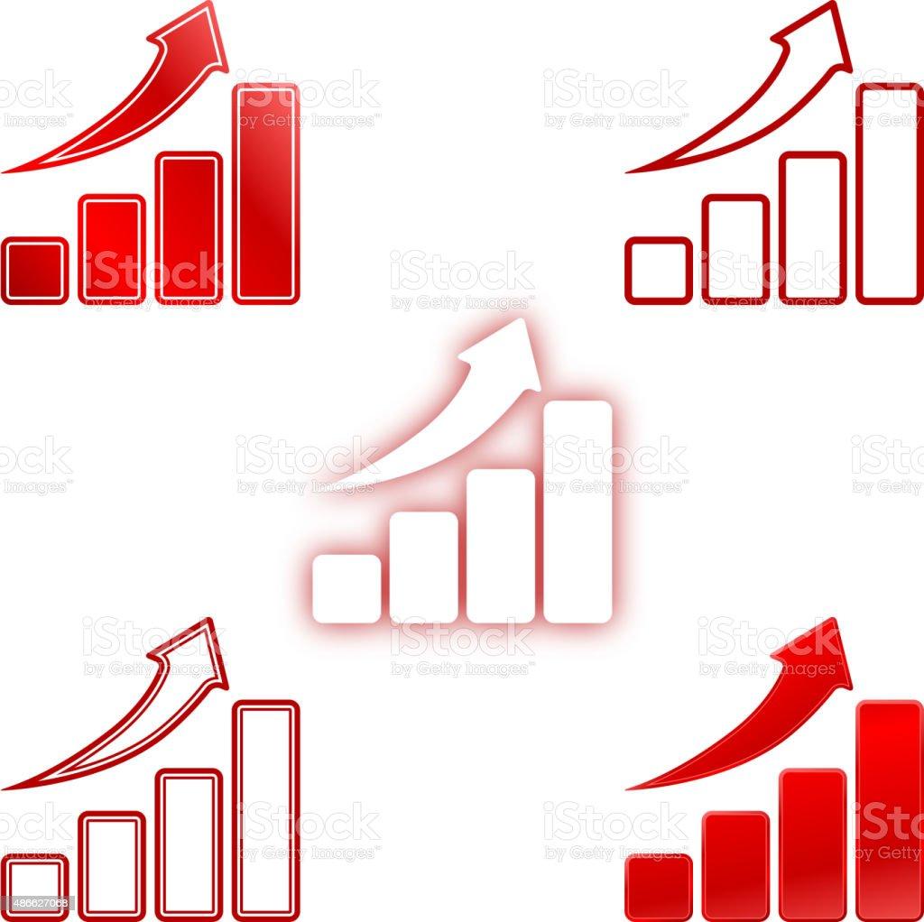 Rise Up Bar Chart vector art illustration