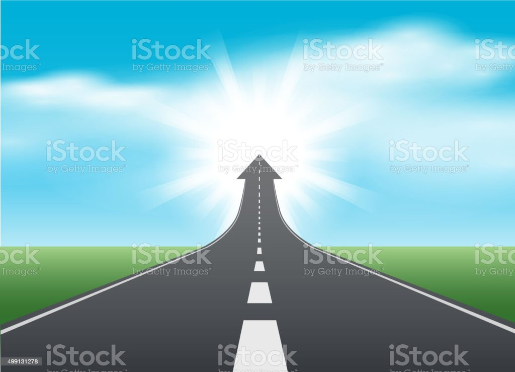 Rise up road vector art illustration