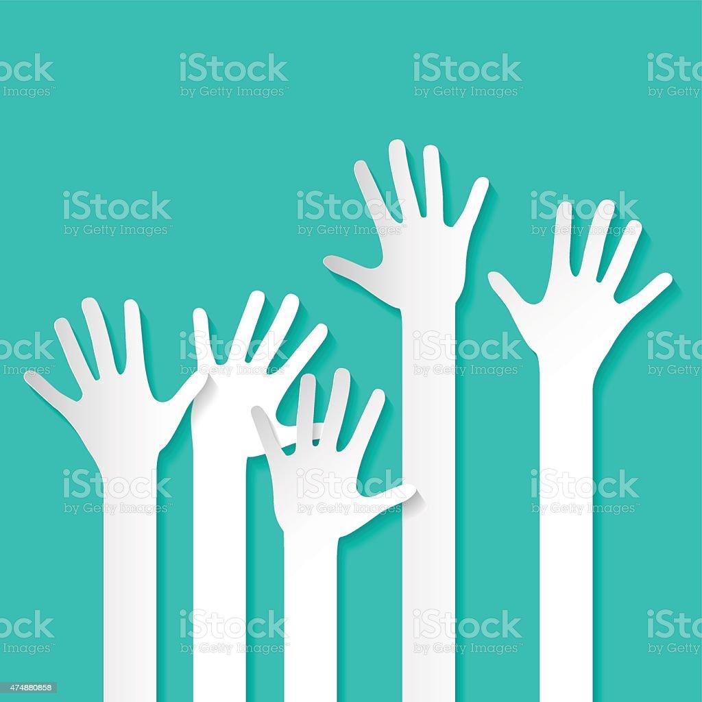 Rised Hands Vector vector art illustration