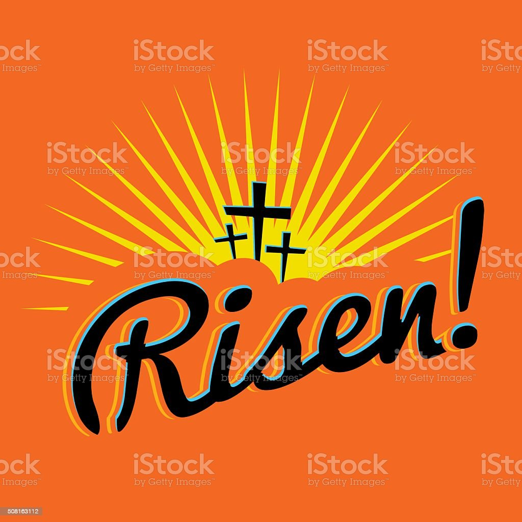 Risen Christian Easter Text Illustration vector art illustration