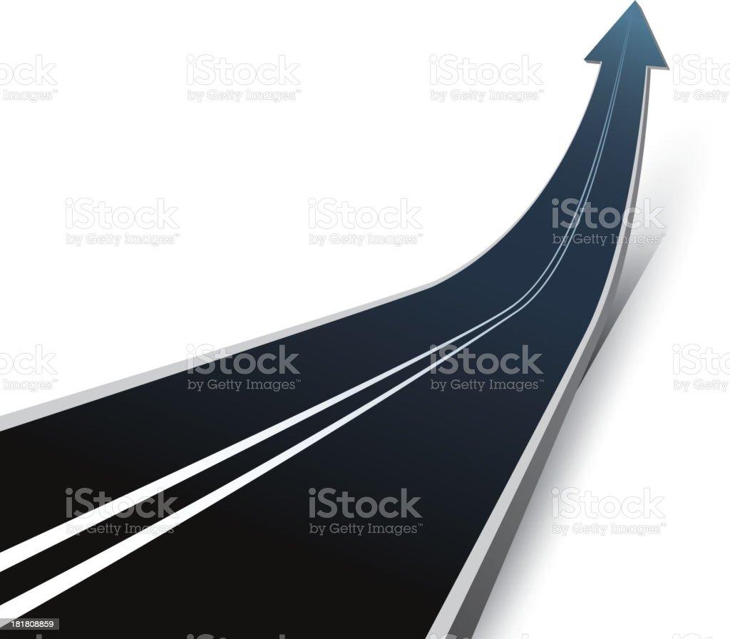 Rising arrow road vector art illustration