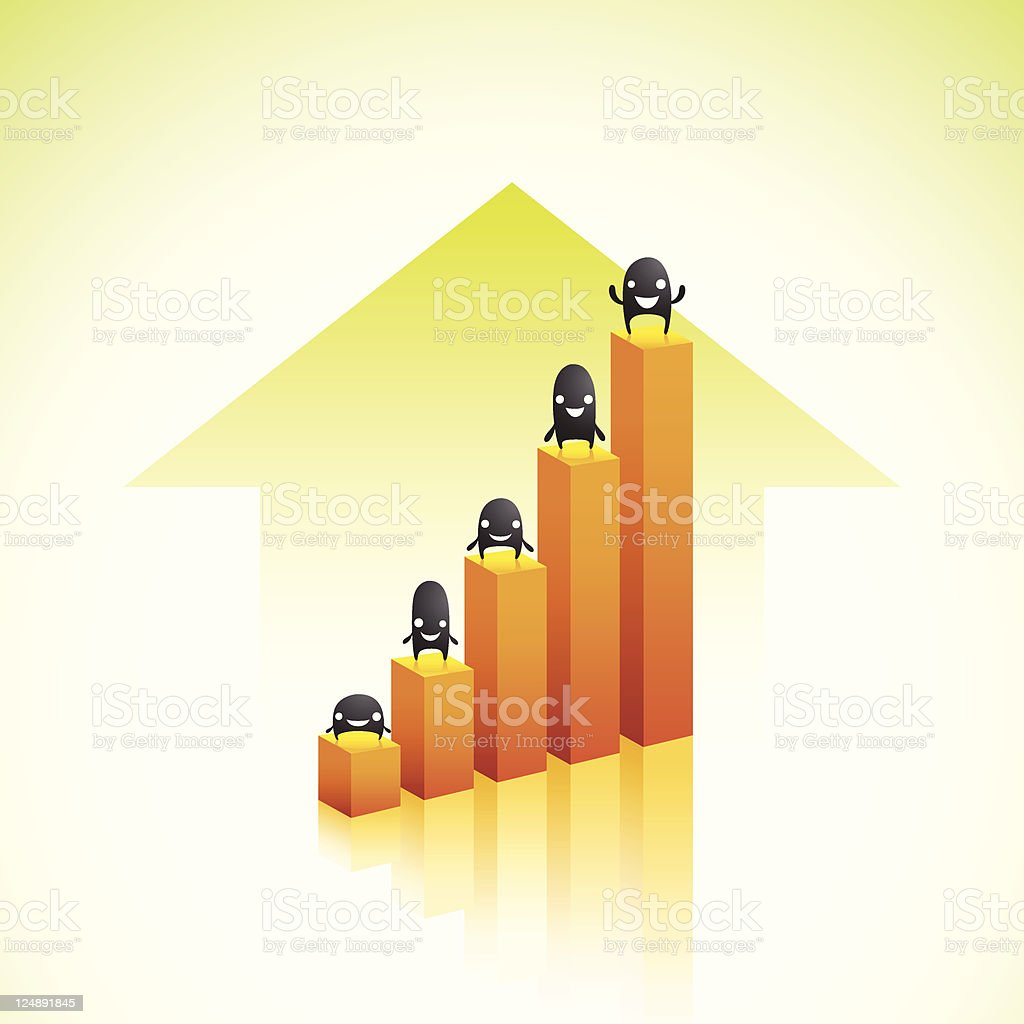 Rising Business Charts With Happy Characters royalty-free stock vector art