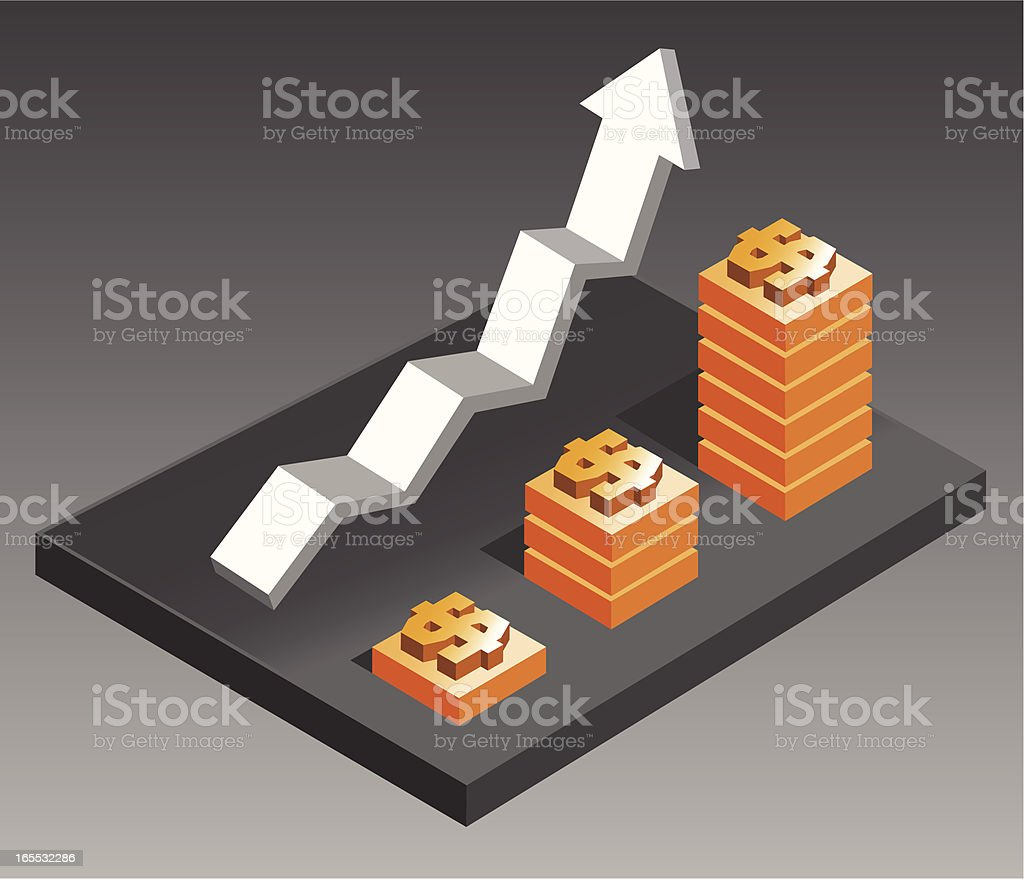 Rising Economy: Dollars royalty-free stock vector art