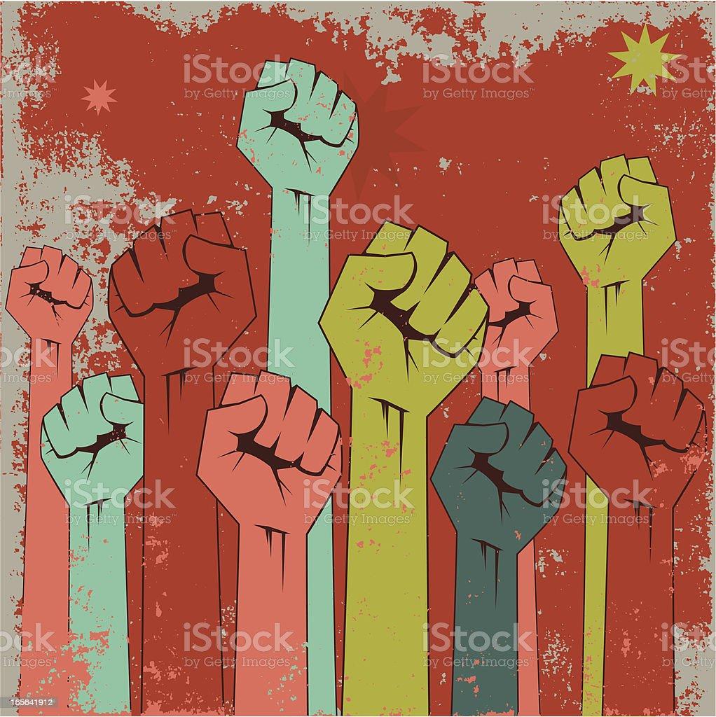 Rising fists royalty-free stock vector art
