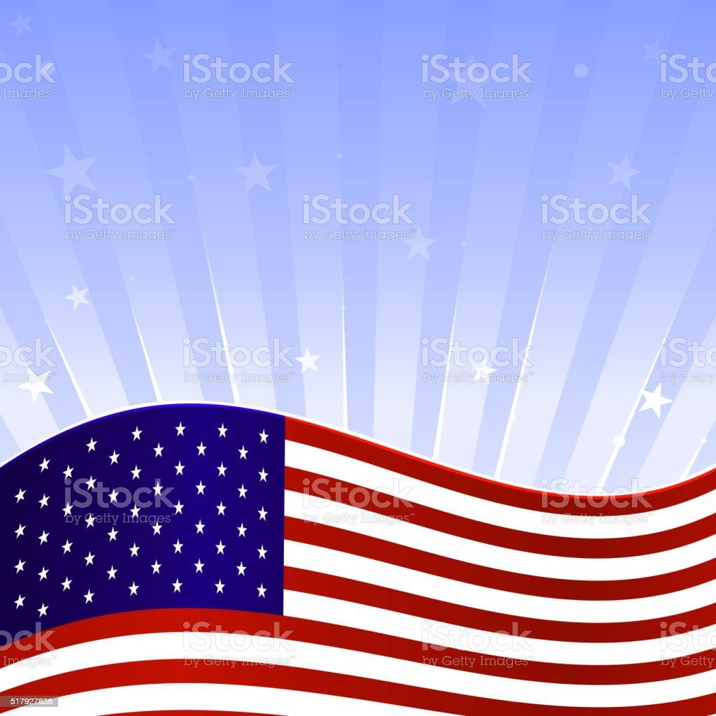 rising flag vector art illustration