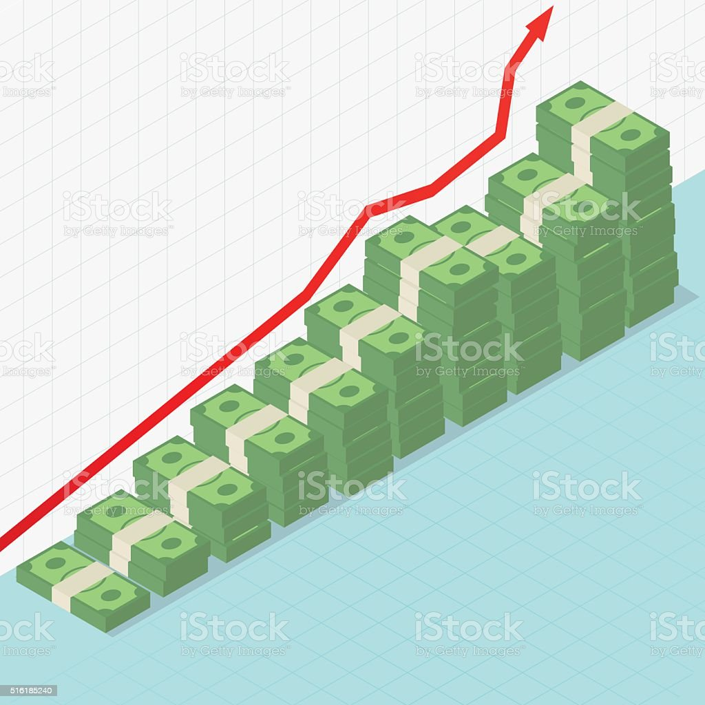 Rising graph and money vector art illustration