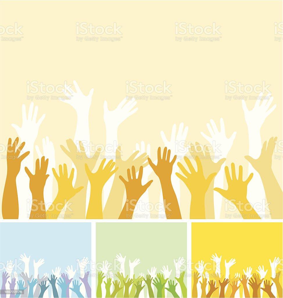 Rising hands vector art illustration