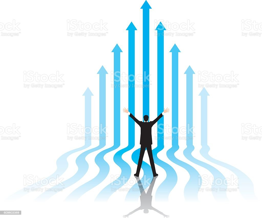 Rising image of the businessman. Ness image. vector art illustration