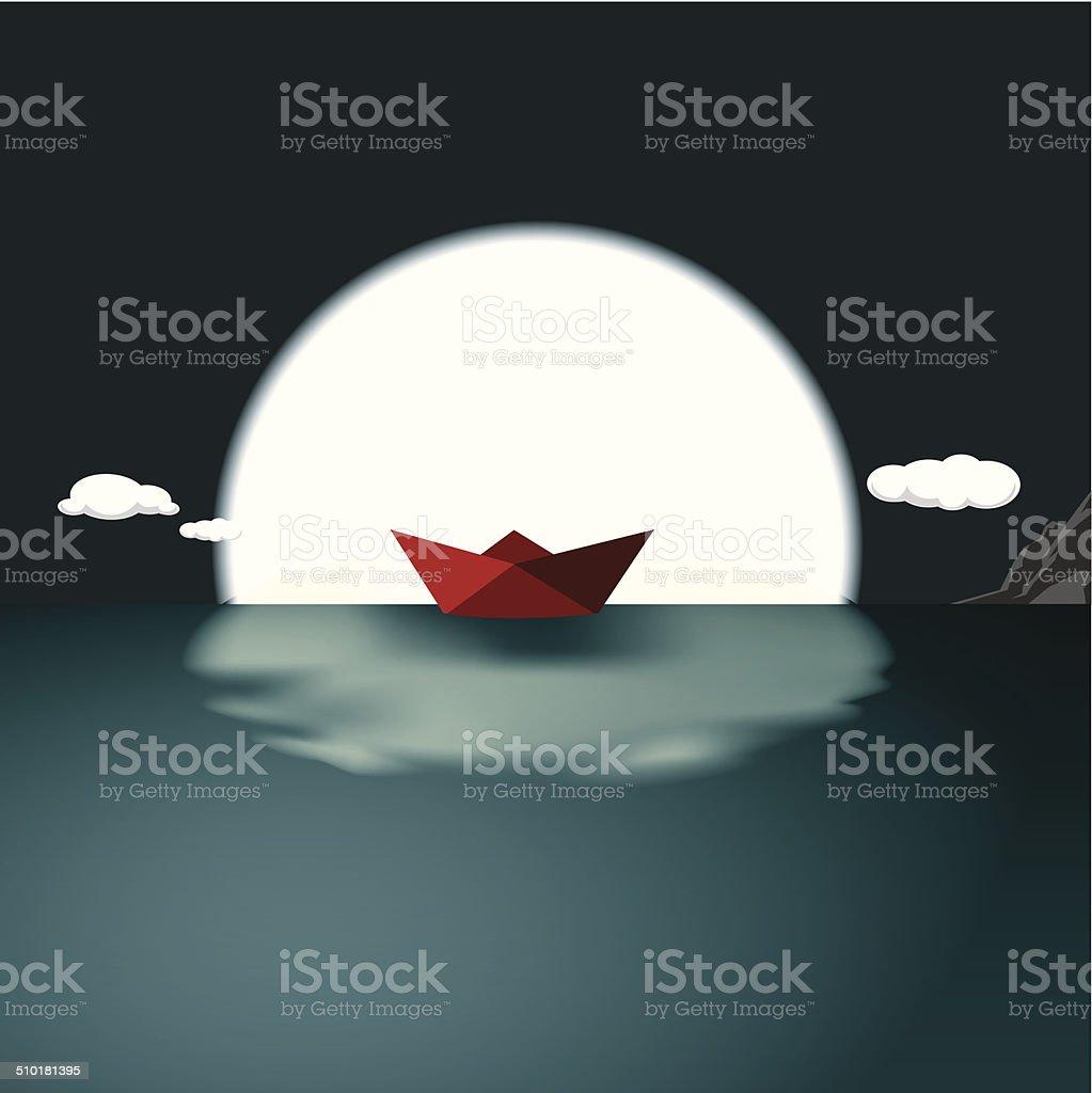 rising moon vector art illustration