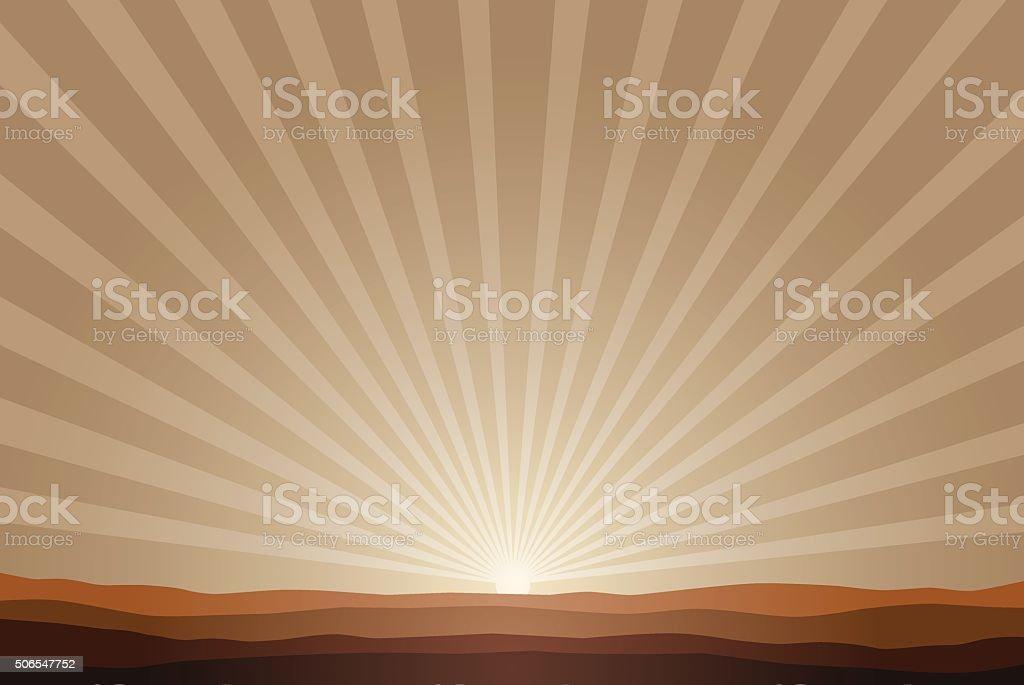 rising sun background vector art illustration