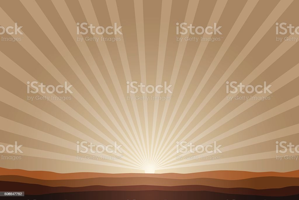 rising sun background vector art illustration