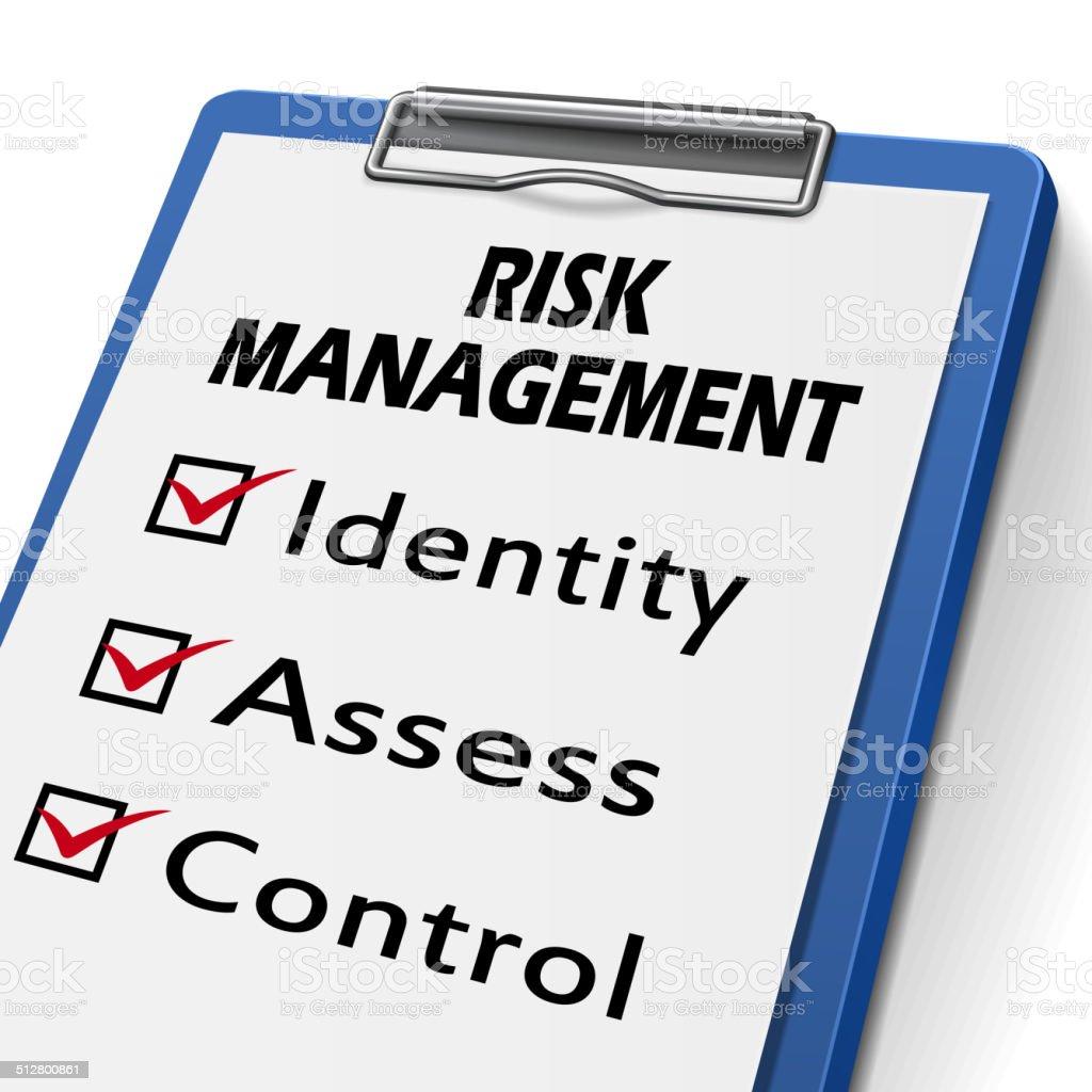 risk management clipboard vector art illustration