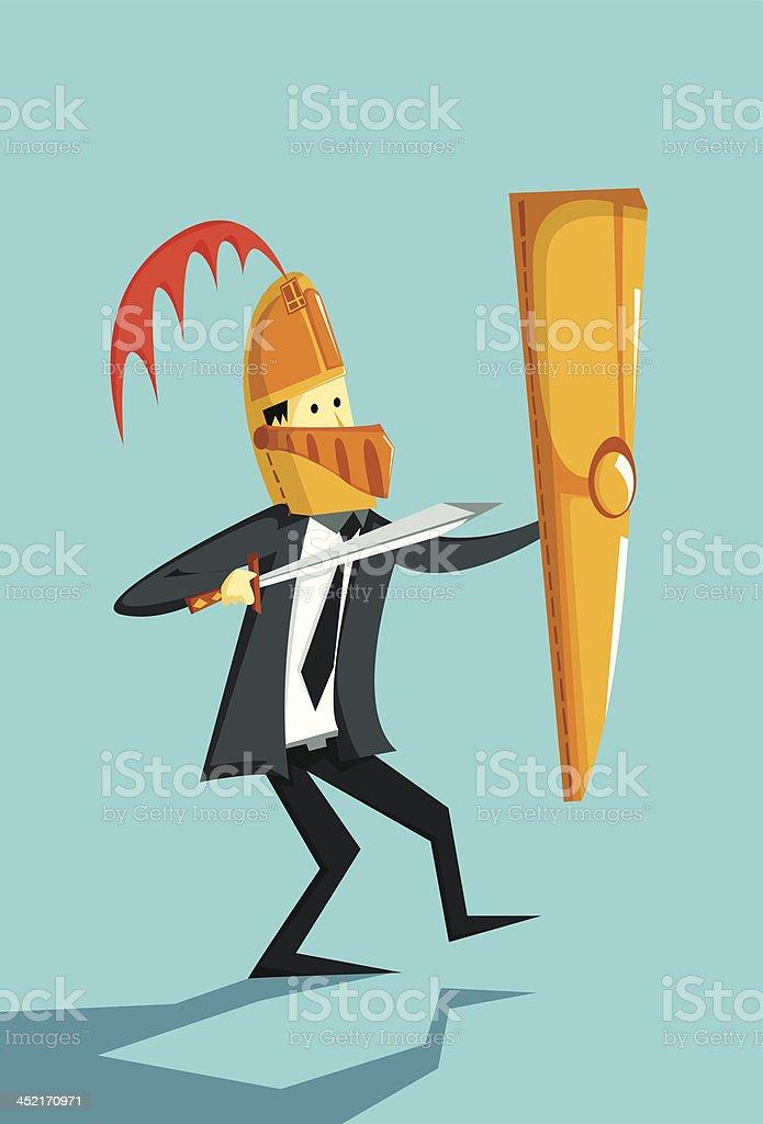 Risk Mitigation- Businessman with shield, knight helmet and sword vector art illustration