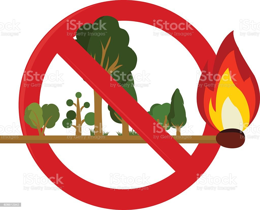 Risk of fire in forest vector art illustration