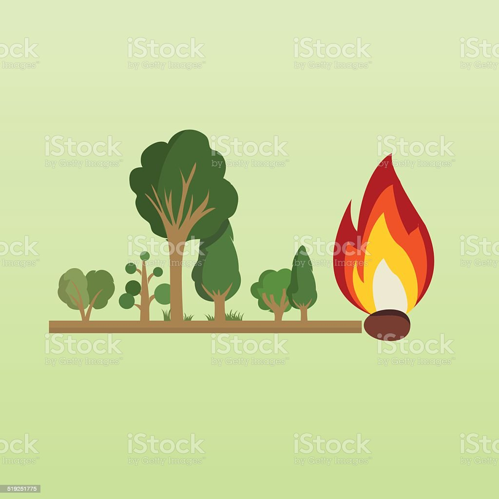 Risk of fire in the forest vector art illustration