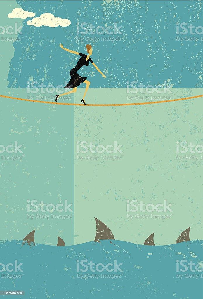 Risky tightrope walker vector art illustration