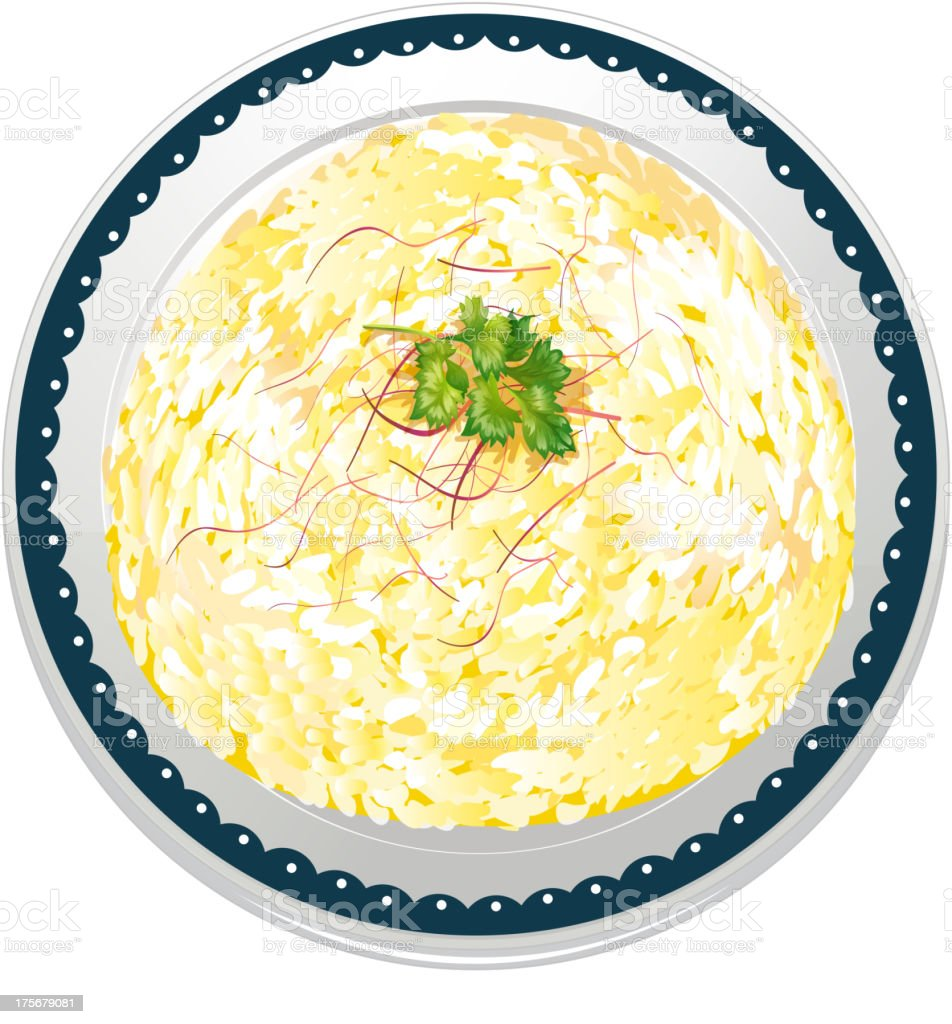 Risotto and a dish vector art illustration