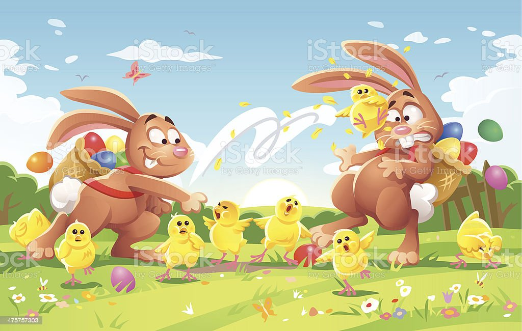 Rivaling Easter Bunnies vector art illustration