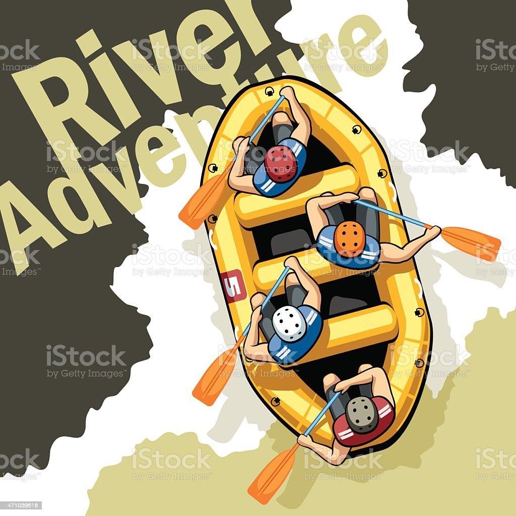 River Adventure vector art illustration