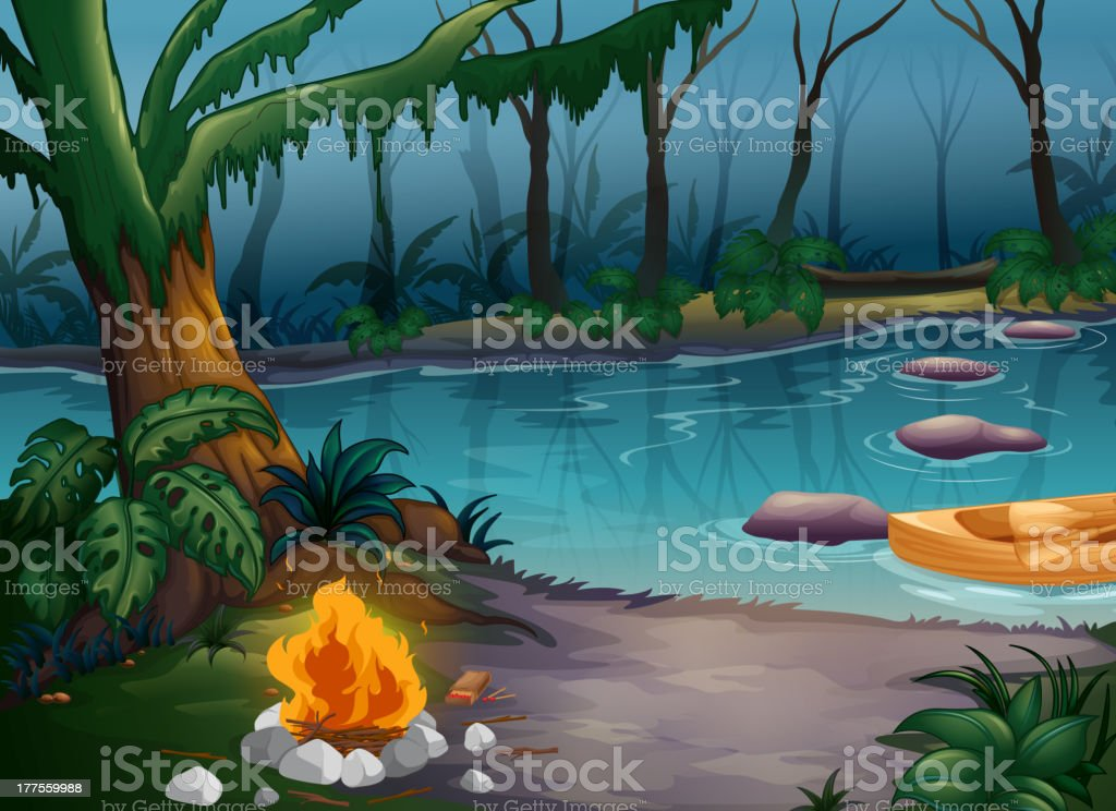 River and a camp fire royalty-free stock vector art