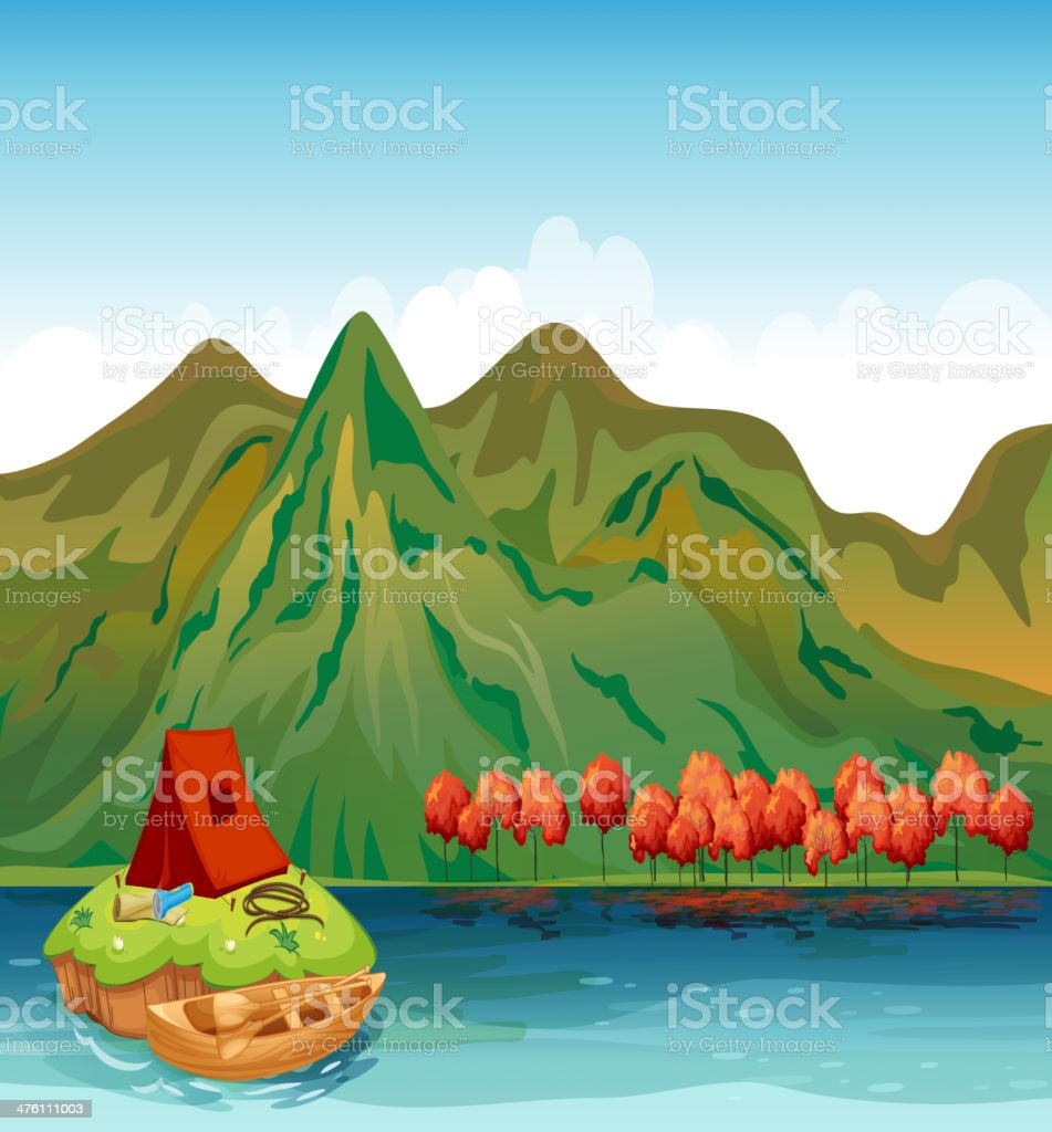 River and a camping tent royalty-free stock vector art