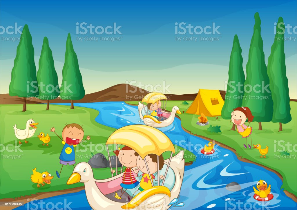River and kids royalty-free stock vector art