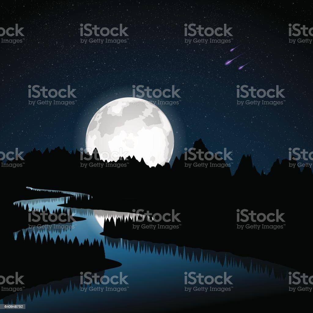 River at moonlight vector art illustration