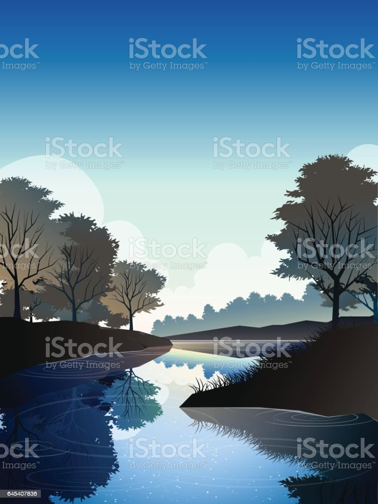 river in deep forest at noon vector art illustration