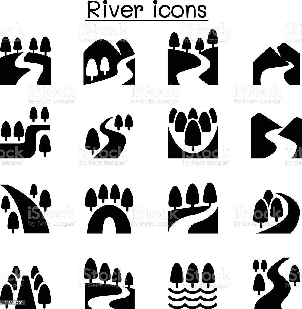 River, Lake , canal nature icons set vector art illustration