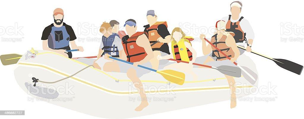 River rafting vector art illustration