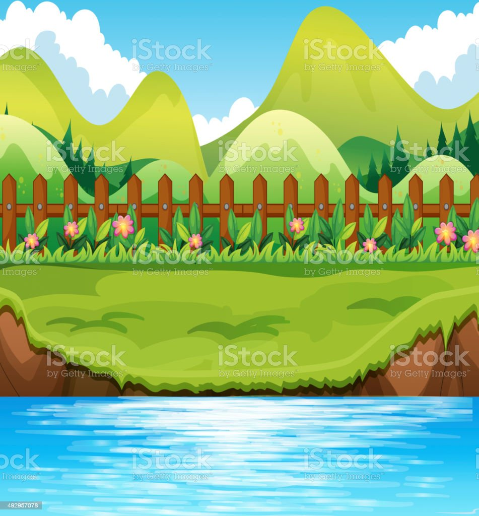 River scene  mountains background vector art illustration