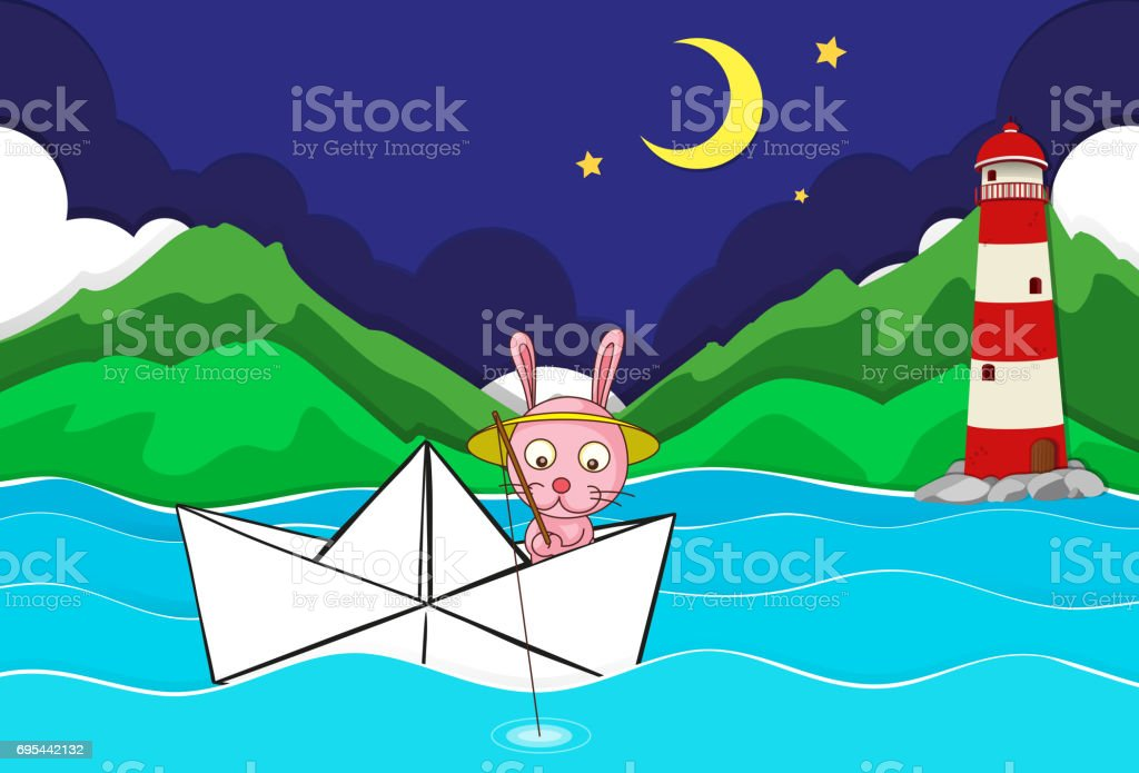 River scene with rabbit fishing on paperboat vector art illustration