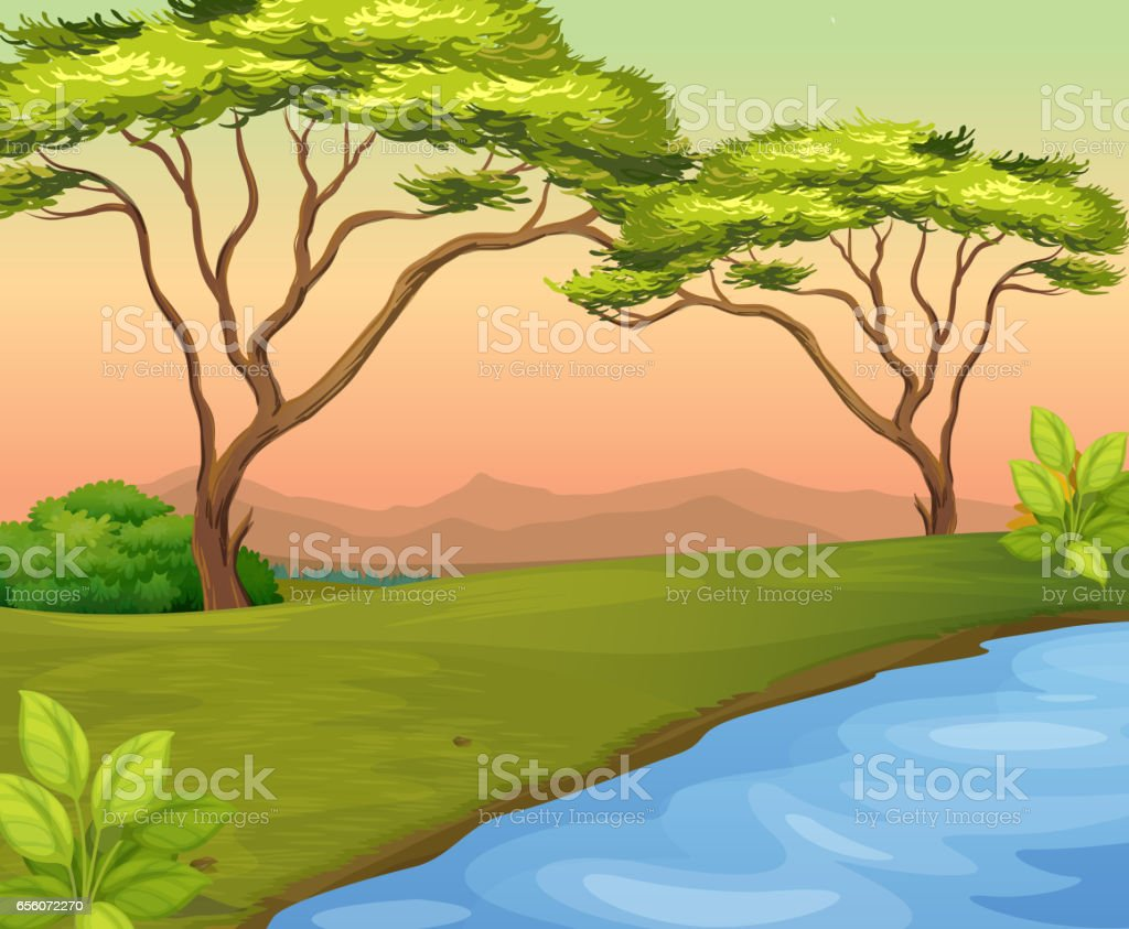 River scene with trees in the field vector art illustration
