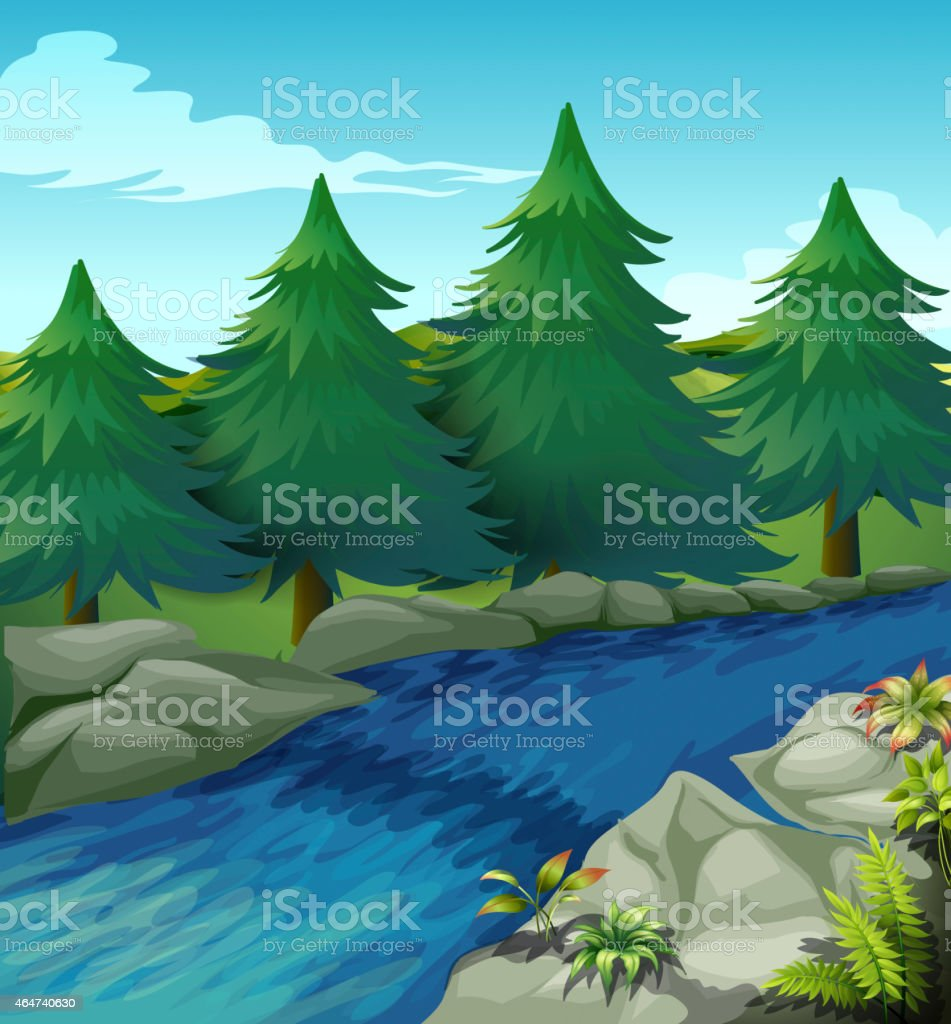 River vector art illustration