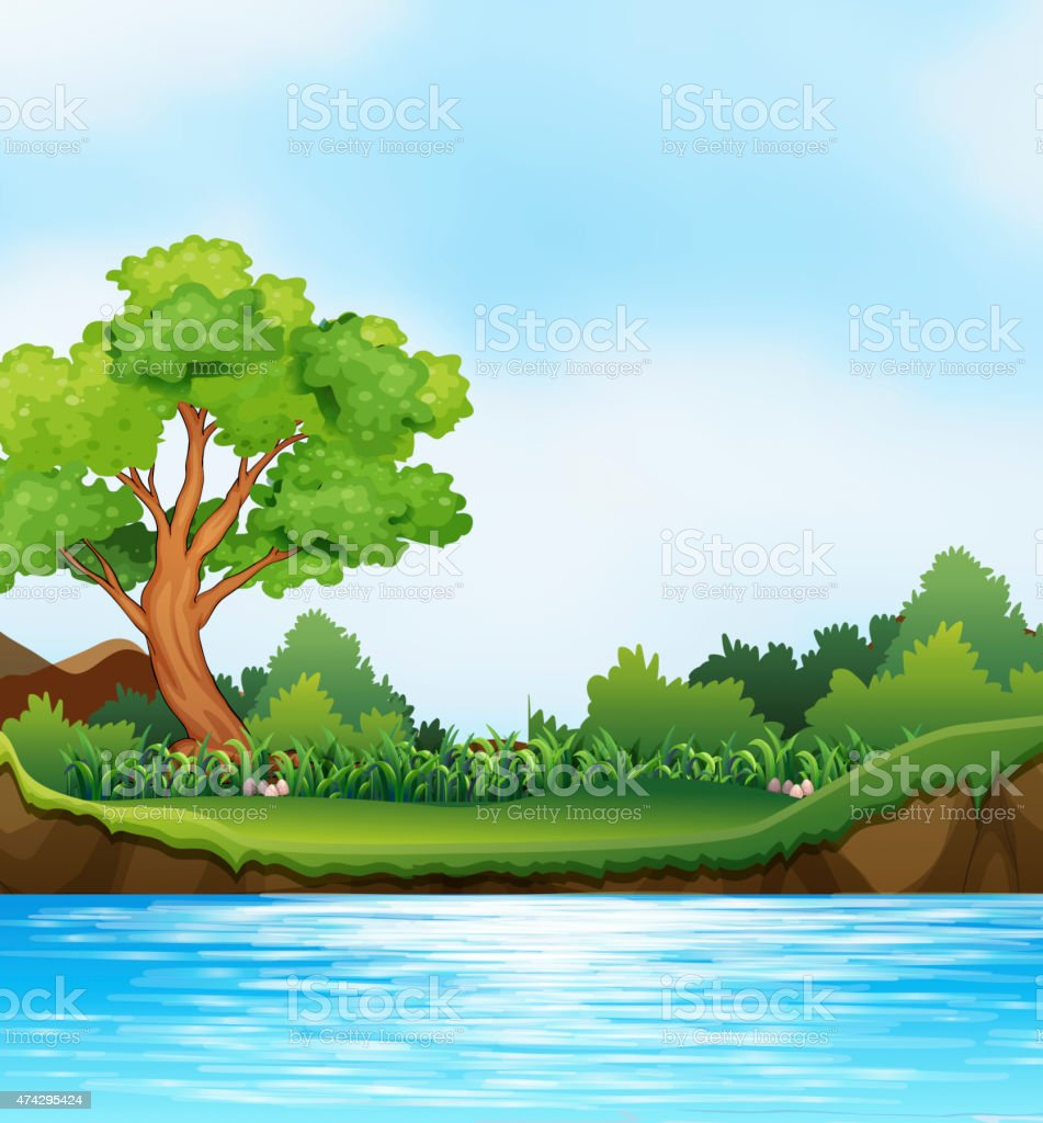 River view vector art illustration