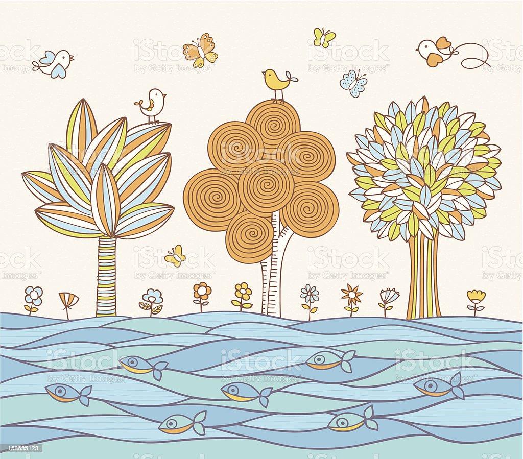 River's Bank vector art illustration